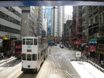 Street with double-decked trams Royalty Free Stock Images