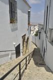 Street downhill in white town Royalty Free Stock Image