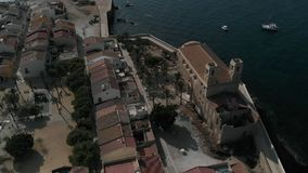 Aerial view of Island of Tabarca with old church and townscape. Spain stock video footage