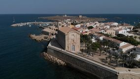 Aerial view of townscape, church and harbour of Tabarca Island. Spain stock video footage