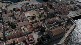 Aerial view of Island of Tabarca with old church and townscape. Spain stock footage