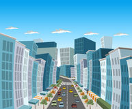 Street of downtown city. With buildings and cars royalty free illustration