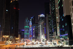 Street downtown in Doha at night Stock Image