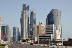 Street downtown in Doha, Qatar Royalty Free Stock Images