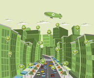 Street of downtown green city. With speech balloon with recycle icon stock illustration