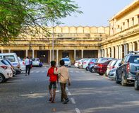 Street at downtown in Jaipur, India. Jaipur, India - Nov 1, 2017. People walking on street in Jaipur, India. Jaipur is the capital and the largest city of the Royalty Free Stock Photography