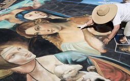 Street drawings. Annual street artists festival, bigger than life reproductions of various artworks done in chalk, takes place in San Rafael, California Stock Photo