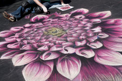 Street drawings. Annual street artists festival, bigger than life reproductions of various artworks done in chalk, takes place in San Rafael, California Stock Photos