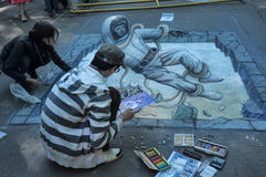 Street drawings. Festival 3d drawings on the pavement, in St. Petersburg, Russia Stock Photography