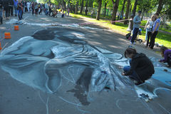 Street drawings. Festival 3d drawings on the pavement, in St. Petersburg, Russia Royalty Free Stock Photography