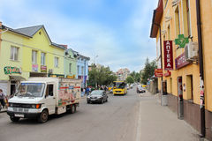 Street in Drohobych town royalty free stock photos