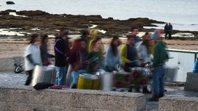 Street Drum Band Performing Cadiz Spain Time Lapse stock footage
