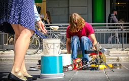 Street drummer money tips royalty free stock photography