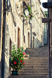 Street in Dubrovnik Croatia. Narrow street stairs in the old town of Dubrovnik, Croatia Stock Photography