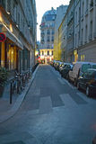 Street at dusk, Paris, France Stock Photo