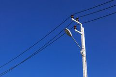Street electricity pole. New street electricity pole with light Royalty Free Stock Photography