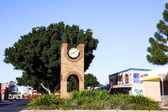 Street scene in Emerald Queensland. Street in Emerald, Queensland, Australia showing the municipal clock and shops. Emerald is a regional town in central royalty free stock images