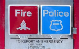 Street Fire and police levers. Street emergency call for fire person or police person stock image