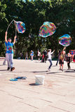 Street entertainer with giant bubbles in Sydney, Australia, April 2012 Stock Images