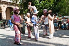 Street entertainers in Old Havana. In Havana. Old Havana has been the center of a restoration process aimed to promote culture and preserve the spirit of the royalty free stock photos