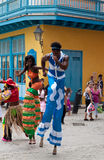Street entertainers in Old Havana. In the last decade Old Havana has been the center of a restoration process aimed to preserve the architecture and the spirit royalty free stock photos