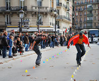 Street entertainers in Paris. Two street entertainers in Paris doing a Rollerblade exhibition stock photography