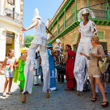 Street entertainers performing in Old Havana Royalty Free Stock Photography