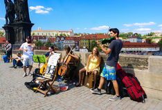 Street Entertainers in Prague Stock Images