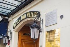 Street entrance of the Hotel du Quai Voltaire, Paris, France Royalty Free Stock Images