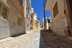 Street in Ermoupoli Syros, Greece. This is a street in Ermoupoli on the island of Syros, Greece royalty free stock photography
