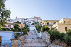 Street in Ermoupolis, Syros island, Cyclades, Greece. Street in Ermoupolis, Syros island, Cyclades Stock Images