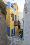 Street in Ermoupolis, Syros island, Cyclades, Greece. Street in Ermoupolis, Syros island, Cyclades Royalty Free Stock Photos