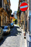 Street in Europe. Photo of italian street, with stop roadsign stock image
