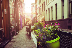 Street of european town at sunset stock photography