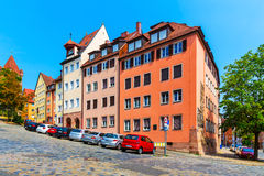 Street with extreme slope in Nurnberg, Germany Royalty Free Stock Photo
