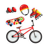 Street extreme sports gear set, bike, skates. Street extreme sports gear set, bmx bike, inline blade roller skates, skateboard, safety knee pads and helmet. Flat Royalty Free Stock Photography