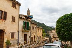 Street and facades of houses in Valldemossa, Mallorca side view. Spain. Horizontal Royalty Free Stock Photos