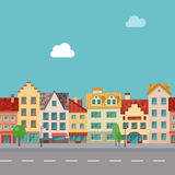 The street with facades of old buildings. Seamless pattern Royalty Free Stock Image