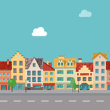 The street with facades of old buildings. Seamless pattern. Royalty Free Stock Photography