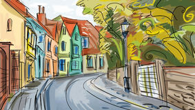 Street - facades of old houses Royalty Free Stock Photo