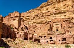 Street of Facades at Petra. UNESCO Heritage Site in Jordan Stock Images