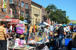 Street Fair. People enjoying a quiet afternoon during the 2012 Annual Street Fair in Maspeth New York Stock Images