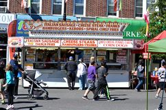 Street Fair. People enjoying a quiet afternoon during the 2012 Annual Street Fair in Maspeth New York Stock Photo