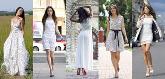 Street Fashion, Beautiful young women Stock Photos