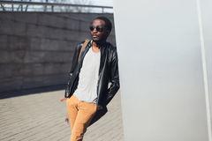 Street fashion concept - handsome stylish african man Royalty Free Stock Image