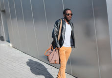 Street fashion concept - handsome stylish young african man Royalty Free Stock Images