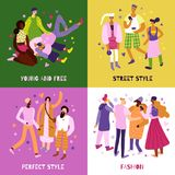 Street Fashion Concept Icons Set. Young people street fashion concept icons set flat isolated vector illustration Stock Illustration