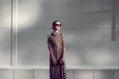 Street fashion concept - pretty elegant woman in dress Royalty Free Stock Photos