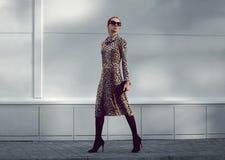 Street fashion concept - pretty elegant woman in leopard dress Royalty Free Stock Photo
