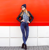 Street fashion concept - pretty young slim woman Stock Image